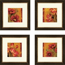 Pandora's Bouquet 4 Piece Framed Painting Print Set