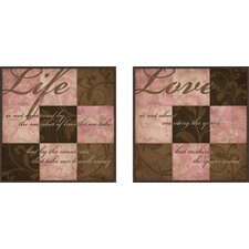 Love and Life 2 Piece Framed Textual Art Set