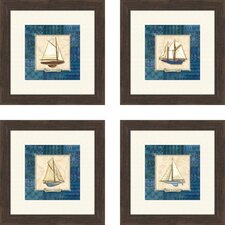 Sailing 4 Piece Framed Graphic Art Set