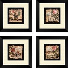 4 Piece Floral Travel Postcards Wall Art Set