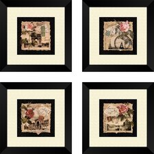 Floral Travel Postcards 4 Piece Framed Graphic Art Set