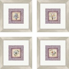 Floral Lilac Iris 4 Piece Framed Art Set