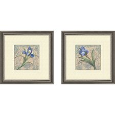 Floral Tile Style 2 Piece Framed Painting Print Set