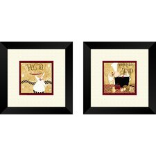 Kitchen Pasta Chef 2 Piece Framed Graphic Art Set