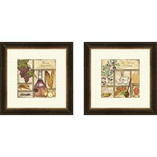 Kitchen Italian 2 Piece Framed Graphic Art Set