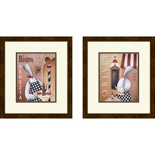 Kitchen Bistro Venezia 2 Piece Framed Vintage Advertisement Set