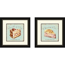 Kitchen Strawberry Cake 2 Piece Framed Vintage Advertisement Set