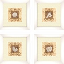 Coastal Stylized Shell 4 Piece Framed Graphic Art Set