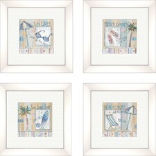 Coastal Sun Lover 4 Piece Framed Graphic Art Set