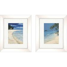 Coastal Clear Beach 2 Piece Framed Painting Print Set
