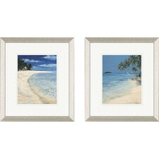 Coastal Beach 2 Piece Framed Painting Print Set