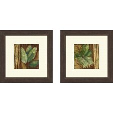 Botanical Bamboo and Palms 2 Piece Framed Painting Print Set