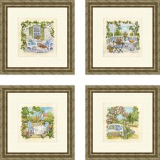 Landscape Garden Club 4 Piece Framed Painting Print Set