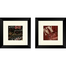 Vintage Ny Nightlife Framed Art (Set of 2)