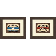 Vintage Laundry 2 Piece Framed Art Set