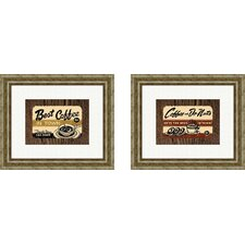 Vintage Best Coffee in Town Framed Art (Set of 2)
