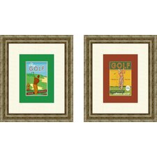 Vintage Golf Stay Young 2 Piece Framed Art Set