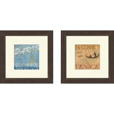 Vintage Paris 2 Piece Framed Art Set