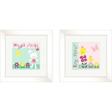2 Piece Juvenile Bunnie Framed Art Set (Set of 2)