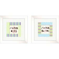 2 Piece Juvenile Polka Dots Framed Art Set