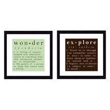 Explore and Wonder ... 2 Piece Textual Art Shadow Box Set