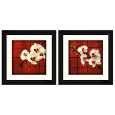 <strong>Pro Tour Memorabilia</strong> Oriental Floral Framed Graphic Art (Set of 2)
