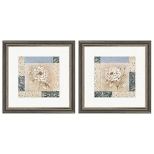 Floral Sapphire Bloom 2 Piece Framed Graphic Art Set