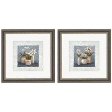 <strong>Pro Tour Memorabilia</strong> Floral Blue and White Collection Framed Art (Set of 2)