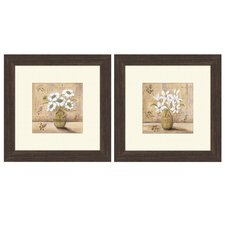 Floral White Bouquet Framed Art (Set of 2)
