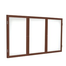 3 Door Wood Frame Enclosed Porcelain Magnet Whiteboard