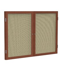 2 Door Wood Frame Enclosed Fabric Tackboard