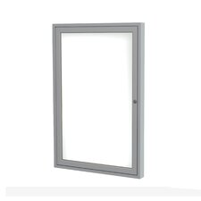 <strong>Ghent</strong> 1 Door Aluminum Frame Enclosed Porcelain Magnetic Whiteboard