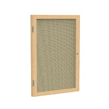 1 Door Wood Frame Enclosed Fabric Tackboard