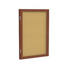1 Door Wood Frame Enclosed Natural Cork Bulletin Board