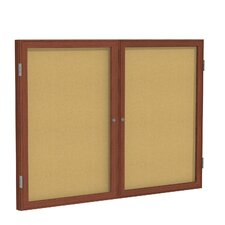 <strong>Ghent</strong> 2 Door Wood Frame Enclosed Natural Cork Tackboard