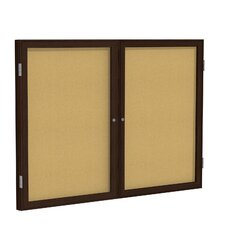 2 Door Wood Frame Enclosed Natural Cork Bulletin Board
