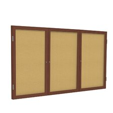 3 Door Wood Frame Enclosed Natural Cork Tackboard