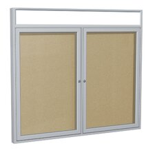 2 Door Aluminum Frame Enclosed Vinyl Tackboard