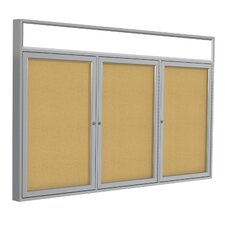 <strong>Ghent</strong> 3 Door Aluminum Frame Enclosed Natural Cork Tackboard