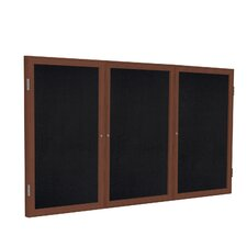3 Door Wood Frame Enclosed Recycled Rubber Tackboard