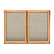 2 Door Ovation Fabric Bulletin Board - Wood Look with Chrome