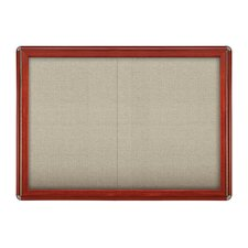"Sliding Door Ovation Fabric Bulletin Board Wood Look with Chrome - 34""x47"""