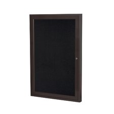 1 Door Aluminum Frame Enclosed Recycled Rubber Tackboard