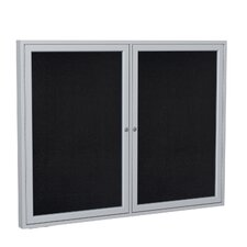 2 Door Aluminum Frame Enclosed Recycled Rubber Tackboard
