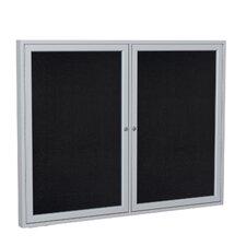 2 Door Satin Aluminum Enclosed Rubber Bulletin Board