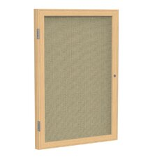 1 Door Wood Frame Enclosed Fabric Bulletin Board