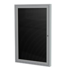 "1-Door Aluminum Frame Enclosed Flannel Letter Board - 3/4"" Gothic Font White Letters"