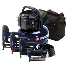 6 Gallon Air Compressor Inflation and Fastening with 4 Nailer Kit