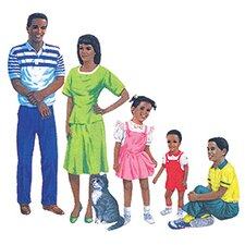 African-american Family Pre-cut