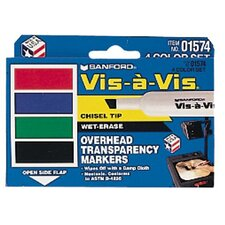 Marker Set Vis A Vis 4 Color chisel